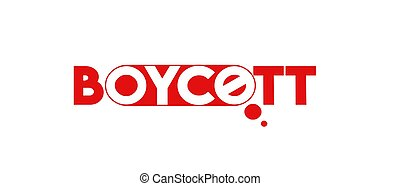 Boycott! text on a white background. , vector illustration