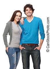Boyfriend and Girlfriend Smiling in Studio