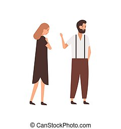 Boyfriend leaving girlfriend flat vector illustration. Depressed woman following indifferent partner cartoon characters. Husband saying goodbye, farewell gesture to wife. Couple breakup concept.