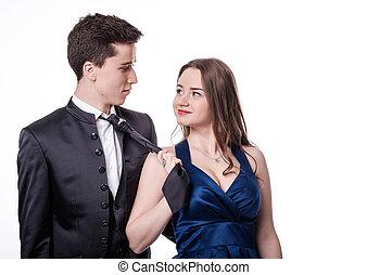 boyfriend, meisje, trekken, paar., valentijn, tie., haar