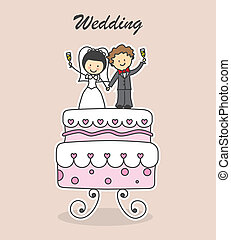 wedding invitation - boyfriends on cake. wedding invitation