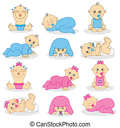 boys and baby girls - Vector illustration of baby boys and...