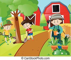 Boys and gardener planting trees