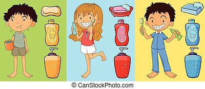 Boys and girl brushing teeth