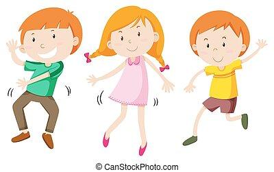 Boys and girl dancing
