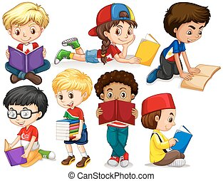 Boys and girl reading books illustration