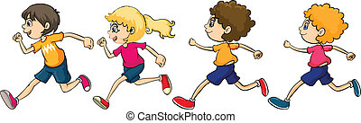 Boys and Girl Running
