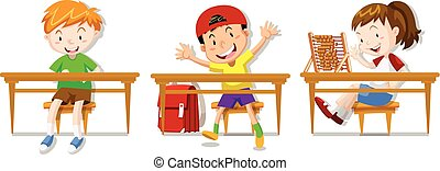 Boys and girl sitting on their desks illustration