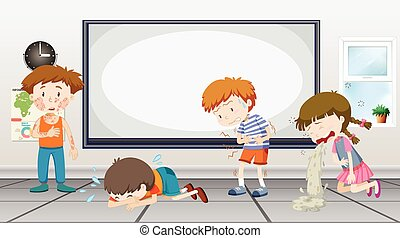 Boys and girls being sick in classroom
