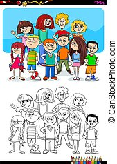 boys and girls characters group color book