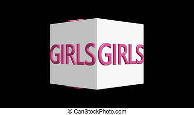 Boys and Girls concept on white rotating cubes
