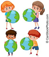Boys and girls holding earth on white background