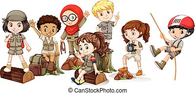 Boys and girls in camping outfit illustration
