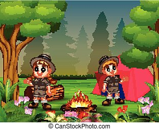 Boys and girls in camping outfit near bonfire and a tent