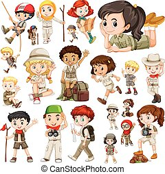 Boys and girls in safari outfit illustration