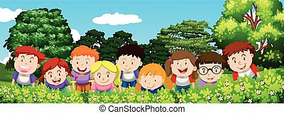 Boys and girls in the garden at daytime