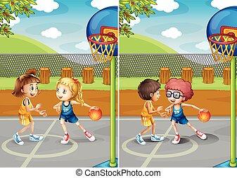 Boys and girls playing basketball