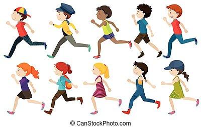 Boys and girls running