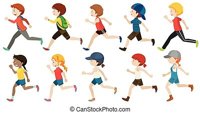 Boys and girls running