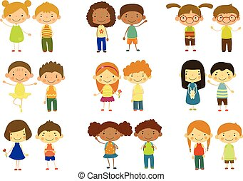 Boys and girls set, cute happy little kids vector Illustrations on a white background