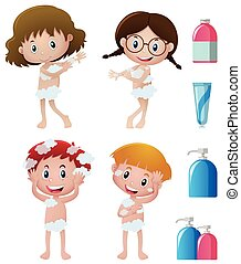 Boys and girls showering