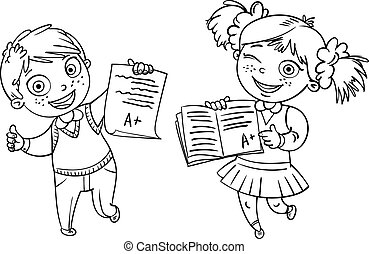 Boys and girls showing perfect test results