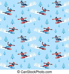Boys and girls snowboarders - seamless pattern
