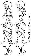 Boys and girls walking