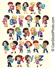 Boys and girls with English alphabet