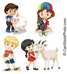 Boys and girls with farm animals