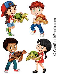 Boys and girls with turtles