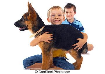 Boys And Their German Shepherd