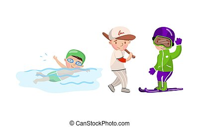 Boys are engaged in various sports. Vector illustration on a white background.