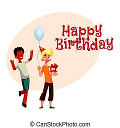 Boys at birthday party, black dancing, Caucasian holding gift, balloon