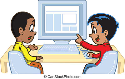 Boys At Computer - Two Young Boys Looking at Something on a...