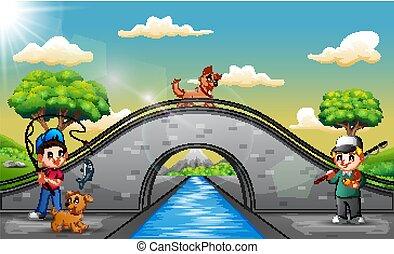 Boys cartoon with his pet fishing on the bridge