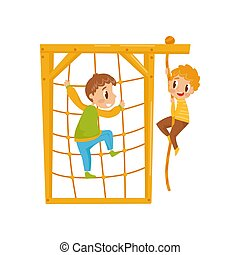 Boys climbing net rope, kids on a playground vector Illustration on a white background