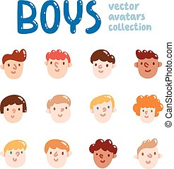 Boys colorful vector avatars collection