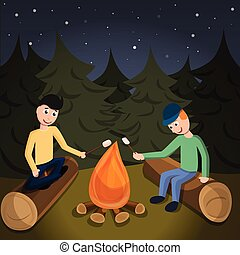 Boys cook marshmallow on fire concept background, cartoon...