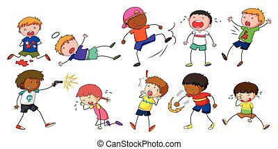 Boys doing different activities illustration