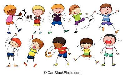 Boys doing different activities