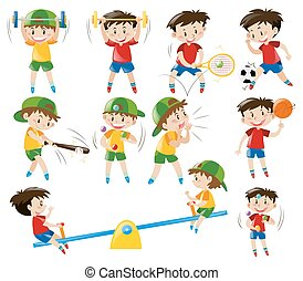 Boys doing different sports