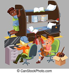 Boys dorm room colorful poster. University students living in dormitory together vector illustration