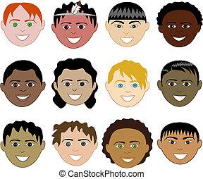 Boys Faces - 12 diverse boys faces. Also available in...