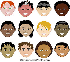Boys Faces - 12 diverse boys faces. Also available in...