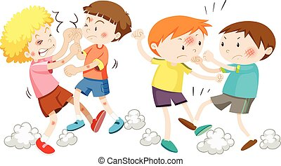Boys fighting and getting hurt illustration