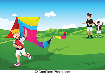 Boys flying kite with their dad - A vector illustration of...
