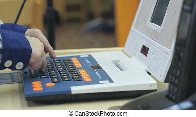 Boy's hands play with toy laptop - Close-up of unknown boy's...