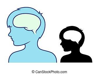 Boy's head and brain