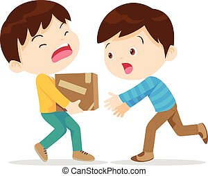 Boys help lifting heavy. Young have kindness. The boy needs help. Boy help his partner to carry heavy stack of box. Carrying a heavy load.